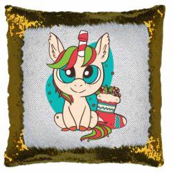 Подушка-хамелеон Unicorn Christmas