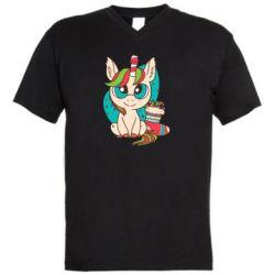 Мужская футболка  с V-образным вырезом Unicorn Christmas