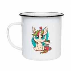 Кружка эмалированная Unicorn Christmas