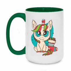 Кружка двухцветная 420ml Unicorn Christmas