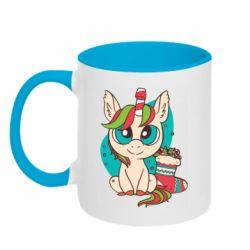 Кружка двухцветная 320ml Unicorn Christmas