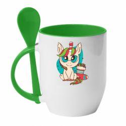 Кружка с керамической ложкой Unicorn Christmas