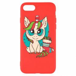 Чехол для iPhone 7 Unicorn Christmas