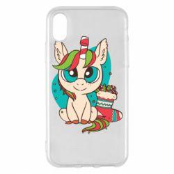 Чехол для iPhone X/Xs Unicorn Christmas