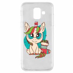 Чехол для Samsung A6 2018 Unicorn Christmas