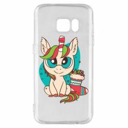 Чехол для Samsung S7 Unicorn Christmas