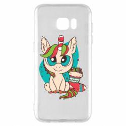 Чехол для Samsung S7 EDGE Unicorn Christmas