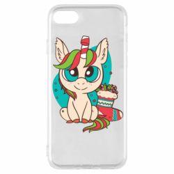 Чехол для iPhone 8 Unicorn Christmas