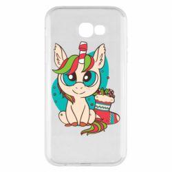 Чехол для Samsung A7 2017 Unicorn Christmas