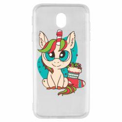Чехол для Samsung J7 2017 Unicorn Christmas
