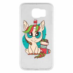 Чехол для Samsung S6 Unicorn Christmas
