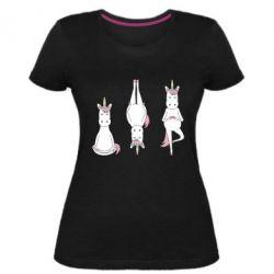 Жіноча стрейчева футболка Unicorn in yoga