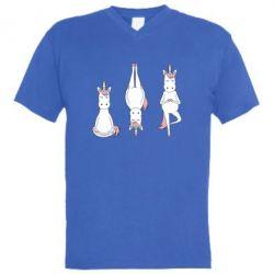 Чоловіча футболка з V-подібним вирізом Unicorn in yoga