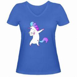Женская футболка с V-образным вырезом Unicorn swag