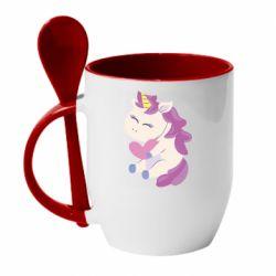 Кружка с керамической ложкой Unicorn with love