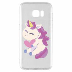 Чехол для Samsung S7 EDGE Unicorn with love