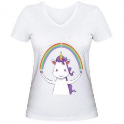 Женская футболка с V-образным вырезом Unicorn