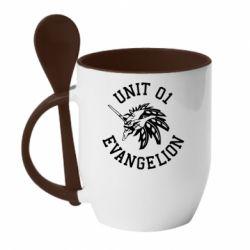 Кружка з керамічною ложкою Unit 01 evangelion