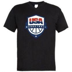 Мужская футболка  с V-образным вырезом USA basketball