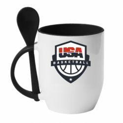 Кружка с керамической ложкой USA basketball