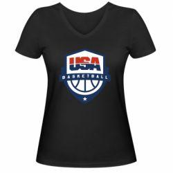 Жіноча футболка з V-подібним вирізом USA basketball