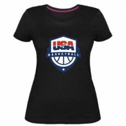 Женская стрейчевая футболка USA basketball