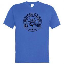 Мужская футболка  с V-образным вырезом USA NYC - FatLine