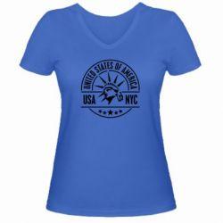 Женская футболка с V-образным вырезом USA NYC - FatLine
