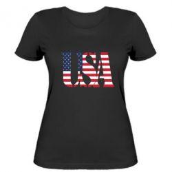 Женская футболка USA - FatLine