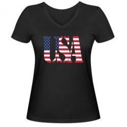 Женская футболка с V-образным вырезом USA - FatLine
