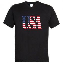 Мужская футболка  с V-образным вырезом USA - FatLine