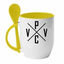 Кружка с керамической ложкой V.V.P.C