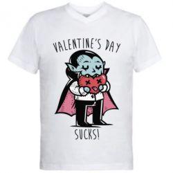 Мужская футболка  с V-образным вырезом Valentine's day SUCKS!