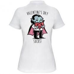 Женская футболка поло Valentine's day SUCKS!