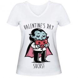 Женская футболка с V-образным вырезом Valentine's day SUCKS!