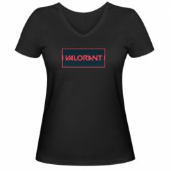 Жіноча футболка з V-подібним вирізом Valorant text
