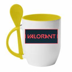 Кружка з керамічною ложкою Valorant text