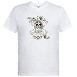 Мужская футболка  с V-образным вырезом Vape to live