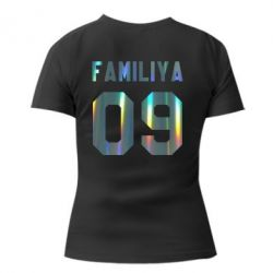 Женская футболка Ваша фамилия и номер голограмма