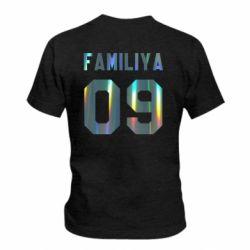 Детская футболка Ваша фамилия и номер голограмма