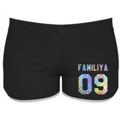 Купить Женские шорты Ваша фамилия и номер голограмма, FatLine