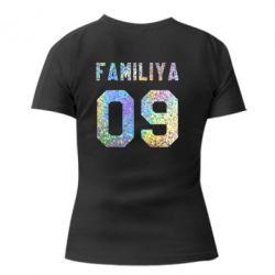 Женская футболка с V-образным вырезом Ваша фамилия и номер голограмма