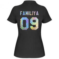 Женская футболка поло Ваша фамилия и номер голограмма