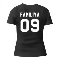 Женская футболка Ваша фамилия и номер - FatLine