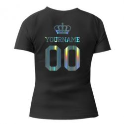 Женская футболка Ваше имя корона голограмма
