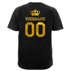 Мужская футболка  с V-образным вырезом Ваше имя корона голограмма