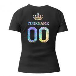 Женская футболка с V-образным вырезом Ваше имя корона голограмма