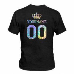 Детская футболка Ваше имя корона голограмма