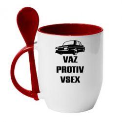 Купить Кружка с керамической ложкой Vaz protiv vsex, FatLine