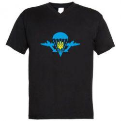 Мужская футболка  с V-образным вырезом ВДВ з гербом